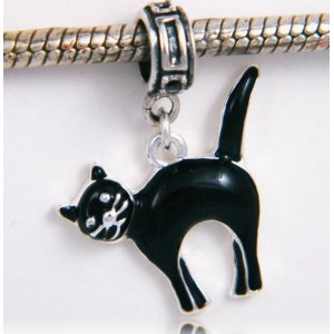 Halloween Black Cat Silver Plated Dangle Charm