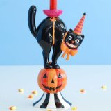 Halloween Black Cat and Pumpkin Candle Holder