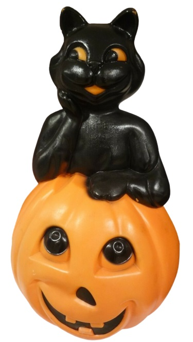 Black Cat on Pumpkin Halloween Blow Mold by Empire