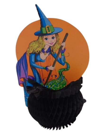 Vintage Beistle Honeycomb Halloween Decoration Pretty Witch with Cauldron