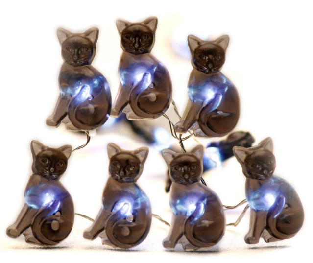 Black Cat Halloween Party String Lights