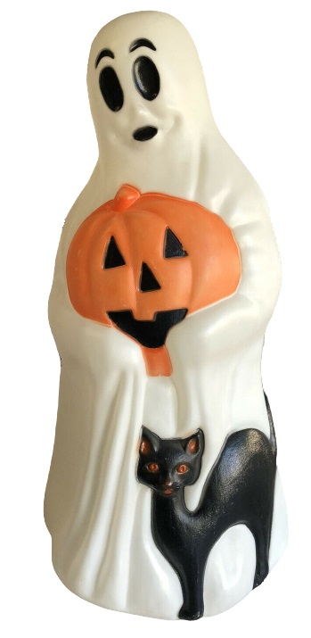 Vintage Empire Halloween Lighted Blow Mold Ghost with Black Cat and Pumpkin