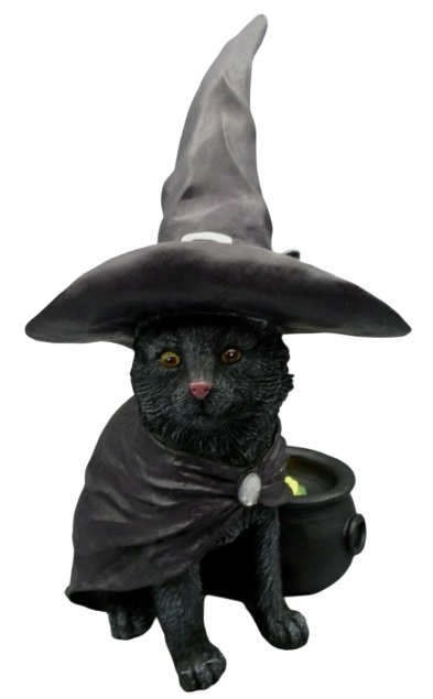 Halloween Black Cat in Witch Hat with Light Up Cauldron Decoration