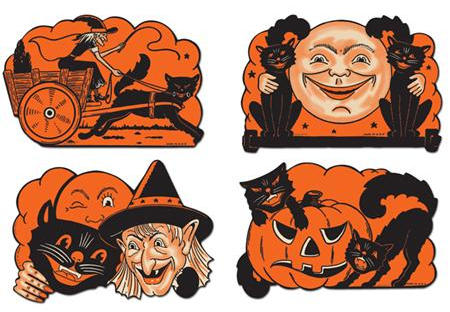 Vintage Beistle Halloween Cat Cutouts Reproduction