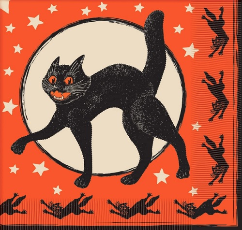 Vintage Beistle Halloween Cat Napkin Reproduction