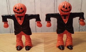 Halloween Scarecrow with Pumpkin Head Candy Container