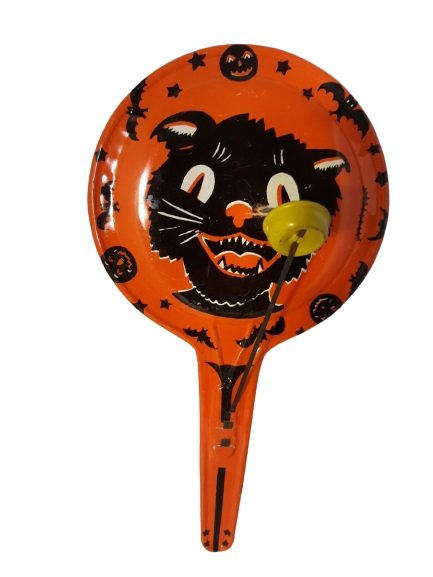 Vintage Halloween Noisemaker Black Cat with Bats and Stars